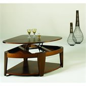 Hammary Oasis Wedge Lift-Top Cocktail Table in Cherry/Walnut
