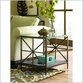 Hammary Crossnore Rectangular End Table in Dark Brass