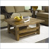 Hammary Luberon Square Cocktail Table in Weathered Pine Finish