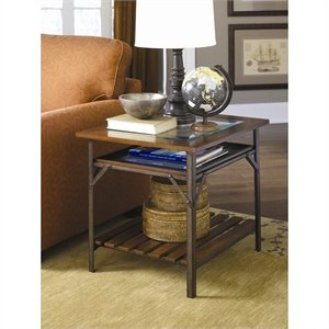 Hammary Mercantile Rectangular End Table in Whiskey Finish