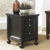 Hammary Hidden Treasures Chairside Table in Black Painted Finish