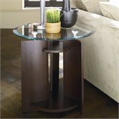 Hammary Apex Round End Table in Dark Cherry