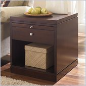 Hammary Cubics Rectangular Drawer End Table in Rich Brown Java