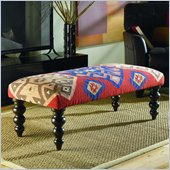 Hammary Hidden Treasures Kilim Rug Bench in Orange