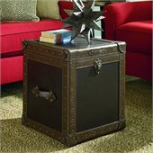 Hammary Hidden Treasures Trunk Cube in Dark Brown PVC