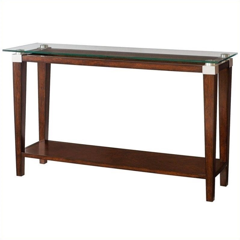 Hammary Solitaire Sofa Table in Rich Dark Brown