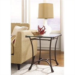 Hammary Sutton Glass Rectangular End Table in Dark Burnished Steel