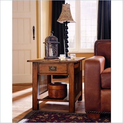 Hammary Canyon Rectangular Drawer End Table in Mission Oak