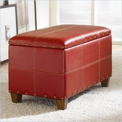 Hammary Hidden Treasures Storage Ottoman Trunk in Red