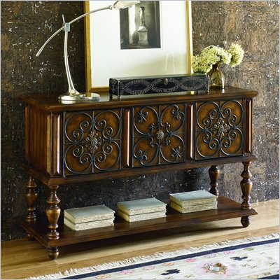 Hammary Hidden Treasures Console Table in Warm Medium Brown