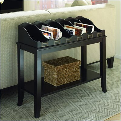 Hammary Hidden Treasures Black Magazine Sofa Table in Black