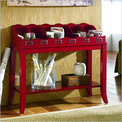 Hammary Hidden Treasures Red Magazine Console Table in Red