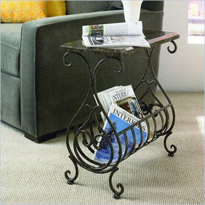 Hammary Hidden Treasures Metal Stone Magazine Table in Black
