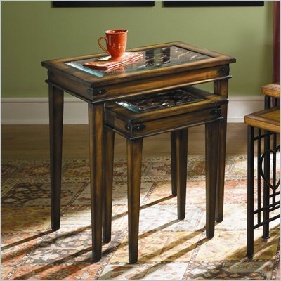 Hammary Hidden Treasures Nesting Table in Rustic Brown Finish