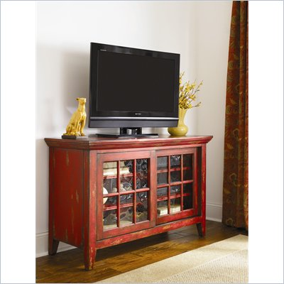Hammary Hidden Treasures Entertainment Console in Heavily Textured Red
