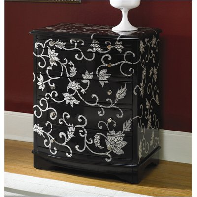 Hammary Hidden Treasures 4 Drawer Accent Chest in Black and White