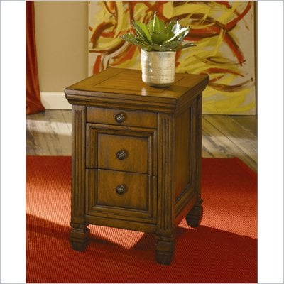 Hammary Hidden Treasures Chairside Table in Oak Finish