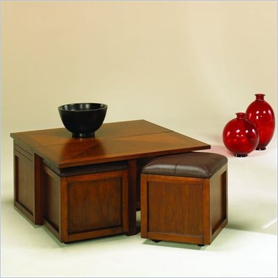 Hammary Nuance Lift Top Square Cocktail Table w/ Ottoman in Cherry
