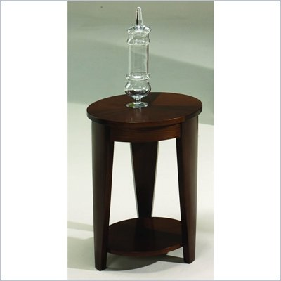 Hammary Oasis Round Chairside Table in Cherry/Walnut