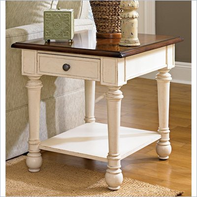 Hammary Promenade Rectangular End Table in Fruitwood/Antique Linen