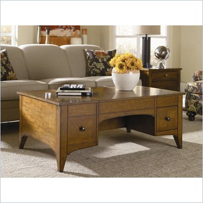Hammary Summit Desk Cocktail Table in Caramel Finish
