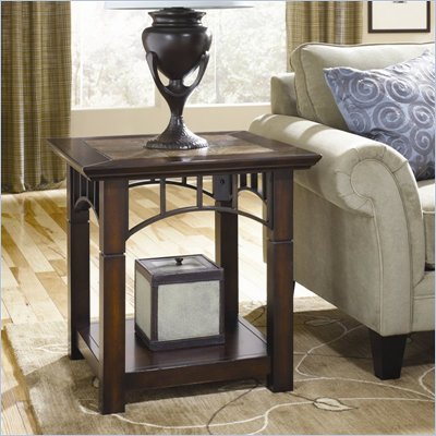 Hammary Vecchio Square End Table in Mid-Tone Brown Finish