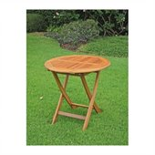 International Caravan Balau 28 Wood Round Folding Patio Table
