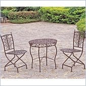 International Caravan Victoria 3 PC Iron Cafe Bistro Set in Bronze