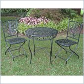 International Caravan Victoria 3 PC Iron Cafe Bistro Set in Verdi Gris