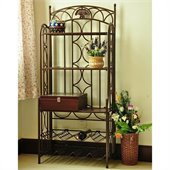 International Caravan Venice Iron 5-Tier Bakers Rack in Bronze