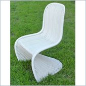 International Caravan Mary Wicker Contemporary Patio Chair in White