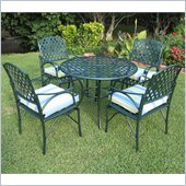 International Caravan 5 PC Diamond Lattice Outdoor Dining Set