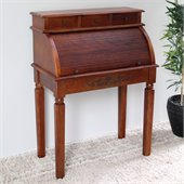 International Caravan Carved Wood Roll Top Desk