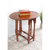 International Caravan Hand Carved Wood Oval Fold Out Table