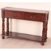 International Caravan Carved Wood 2 Drawer Rectangular Console Table
