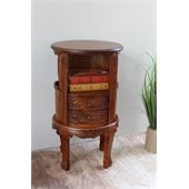International Caravan Carved Wood Telephone Table with 2 Drawers