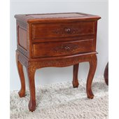 International Caravan Carved Wood 2-Drawer Night Stand