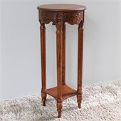 International Caravan Carved Wood Indoor Round Plant Table