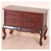 International Caravan Queen Anne 4-Drawer Wooden Console 