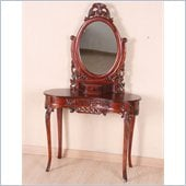 International Caravan Carved Wood Vanity with Mirror