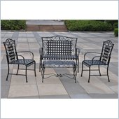 International Caravan 4 Piece Mandalay Iron Settee Patio Set