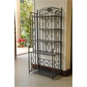 International Caravan Mandalay Iron 5-Tier Bakers Rack in Pewter