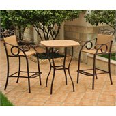 International Caravan Valencia 3 PC Wicker Bar Height Bistro Set