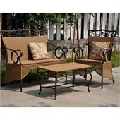 International Caravan Valencia 3 PC Resin Wicker Skirted Settee Group