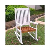 International Caravan Wooden Patio Rocker in White/Oak
