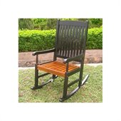International Caravan Wooden Patio Rocker in Black/Oak