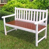 International Caravan 4 Foot Oudoor Wooden Patio Bench in White/Oak