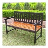 International Caravan 4 Foot Oudoor Wooden Patio Bench in Black/Oak
