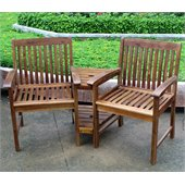 International Caravan Chatham Corner Double Patio Chair in Stain