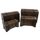 International Caravan Seville Set of 4 Faux Leather Trunks in Brown